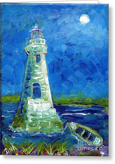Greeting Card featuring the painting Cockspur Lighthouse Mini #7 by Doris Blessington