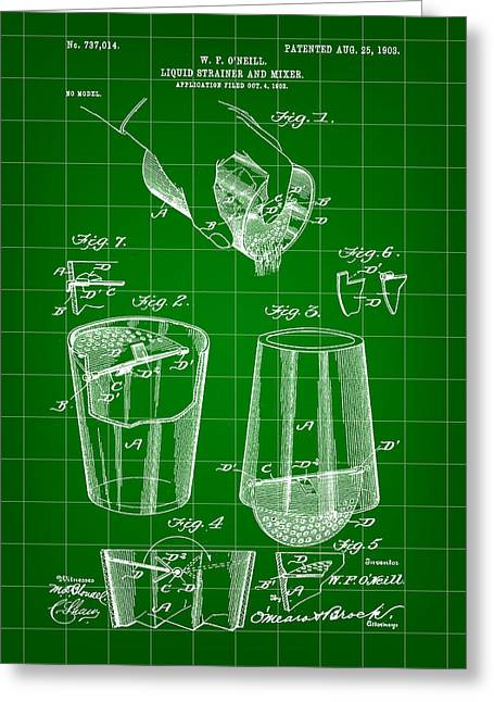 Cocktail Mixer And Strainer Patent 1902 - Green Greeting Card by Stephen Younts