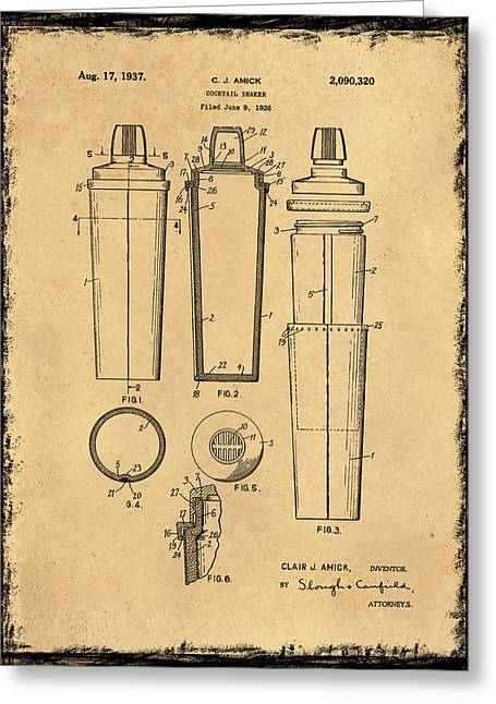 Cocktail Shaker Patent 1937 Greeting Card by Mark Rogan