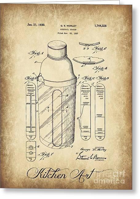 Cocktail Shaker Patent Kitchen Art  Greeting Card