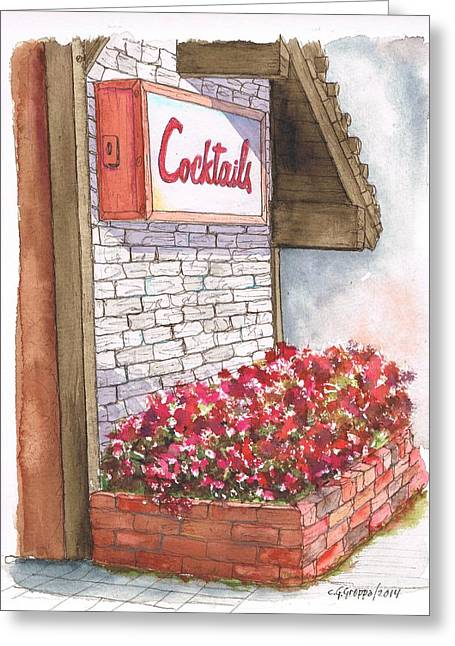 Cocktails Sign In Venice Beach - California Greeting Card by Carlos G Groppa