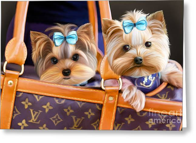 Coco And Lola Greeting Card by Catia Cho