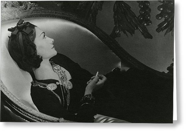 Coco Chanel On A Chaise Longue Greeting Card by Horst P. Horst