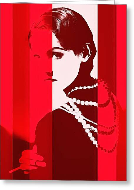 Coco Chanel Red Stripes Greeting Card