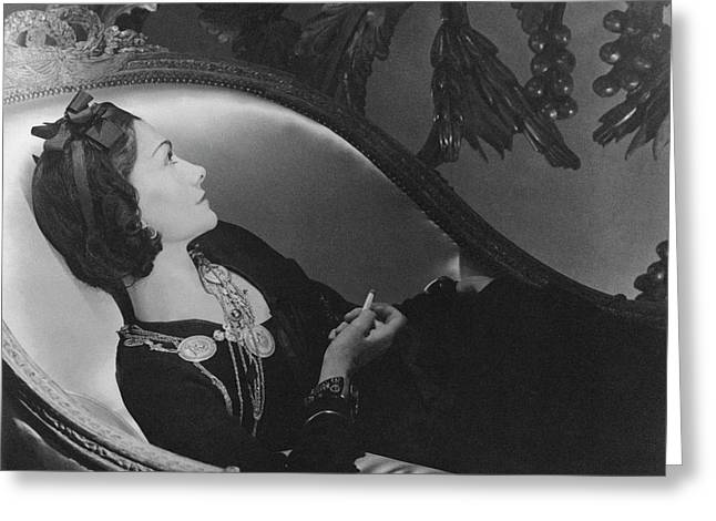 Coco Chanel Smoking Greeting Card by Horst P. Horst