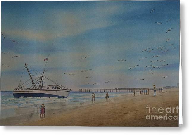 Cocoa Beach Meets Ellen Marie Greeting Card by AnnaJo Vahle
