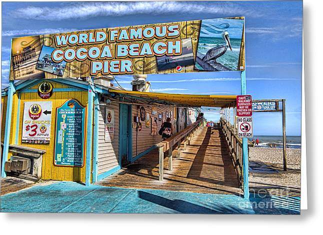 Cocoa Beach Pier In Florida Greeting Card by David Smith