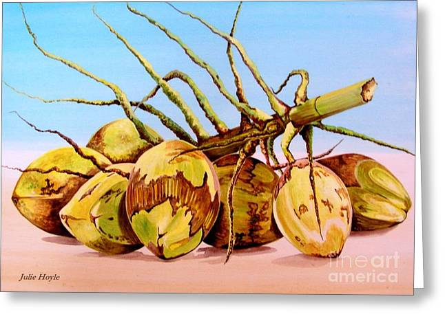 Coconut Beach Greeting Card by Julie  Hoyle