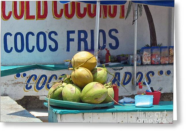 Greeting Card featuring the photograph Coconuts - Mazatlan by Cheryl Del Toro