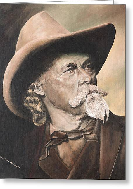Greeting Card featuring the painting Cody - Western Gentleman by Mary Ellen Anderson