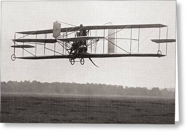 Codys Biplane In The Air In 1909 Greeting Card