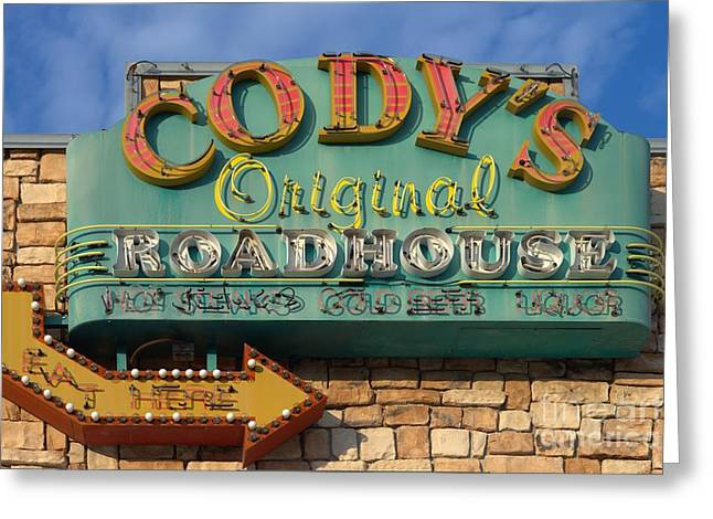 Cody's Original Road House Sign  Greeting Card by Liane Wright