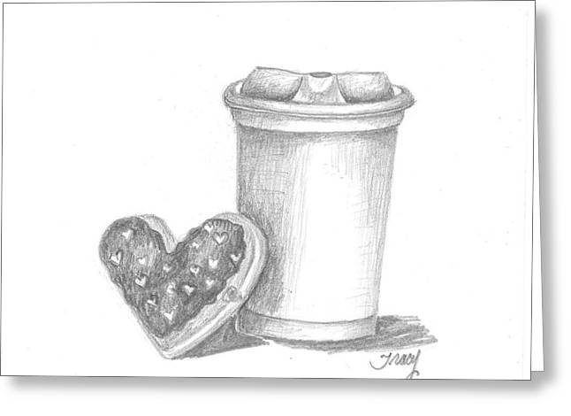Coffee And Donut To Go Greeting Card by Tracy Meola