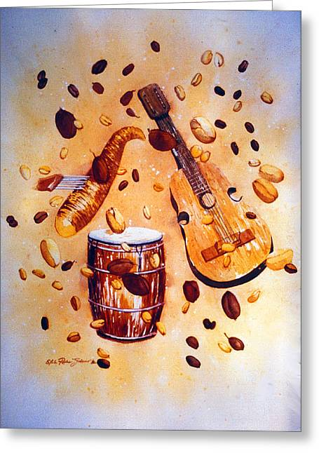 Coffee And Music Greeting Card by Estela Robles