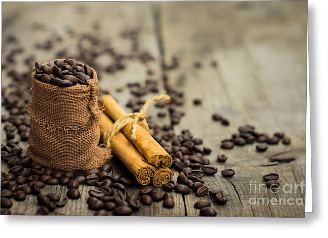 Coffee Beans And Cinnamon Stick Greeting Card by Aged Pixel