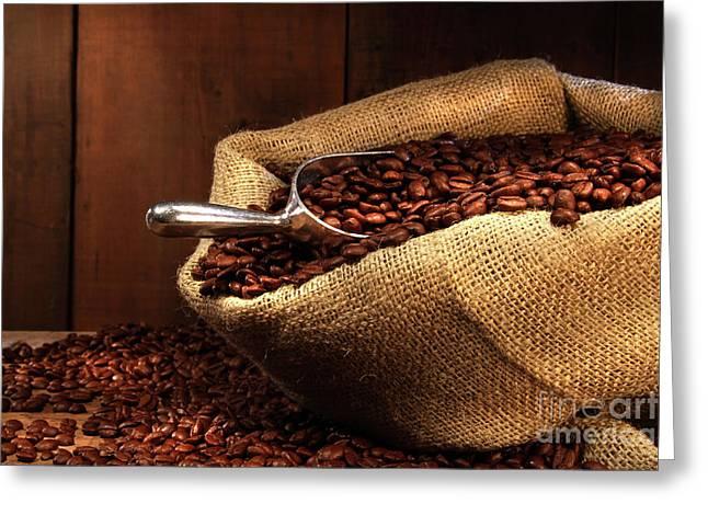 Coffee Beans In Burlap Sack Greeting Card by Sandra Cunningham