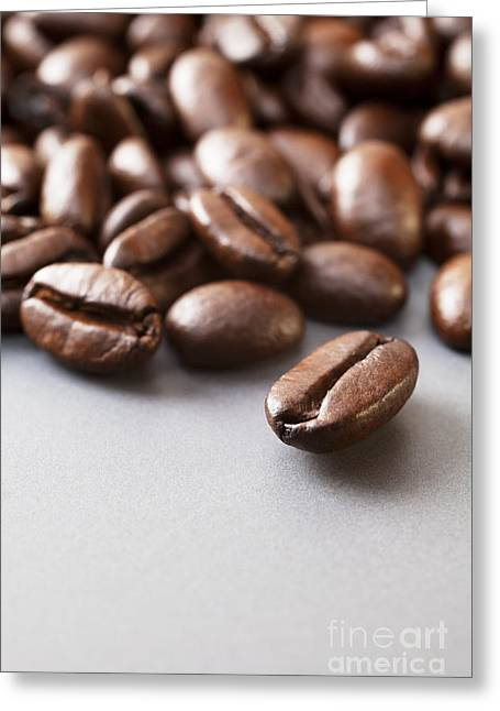 Coffee Beans On Grey Ceramic Surface Greeting Card