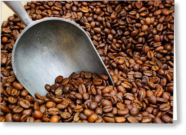 Greeting Card featuring the photograph Coffee Beans With Scoop by Jason Politte