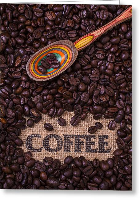 Coffee Beans With Spoon Greeting Card by Garry Gay