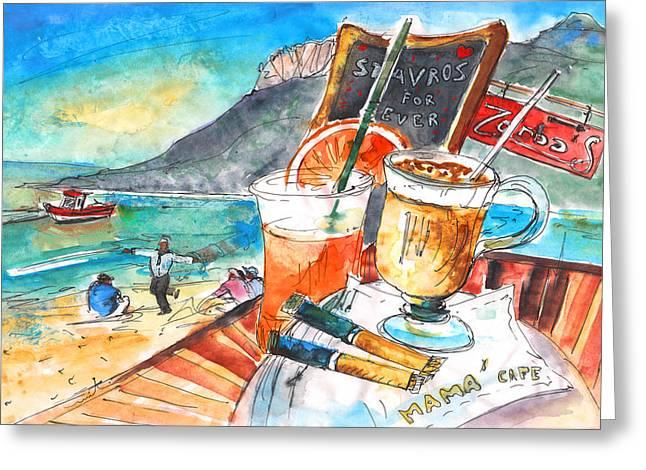 Coffee Break In Stavros In Crete Greeting Card by Miki De Goodaboom