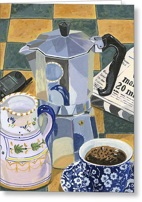 Coffee Break Greeting Card by Jane Dunn Borresen