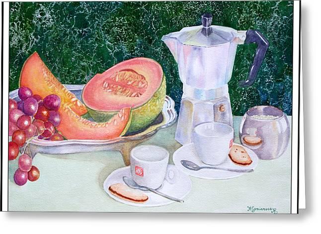 Coffee Break Greeting Card by Mariarosa Rockefeller