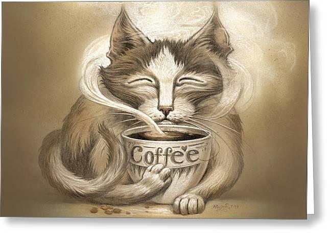 Coffee Cat Greeting Card
