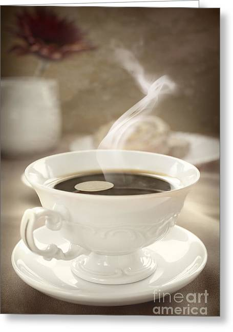 Coffee Close Up Greeting Card by Mythja  Photography