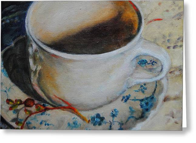 Coffee Cup 1 Greeting Card by Toelle Hovan