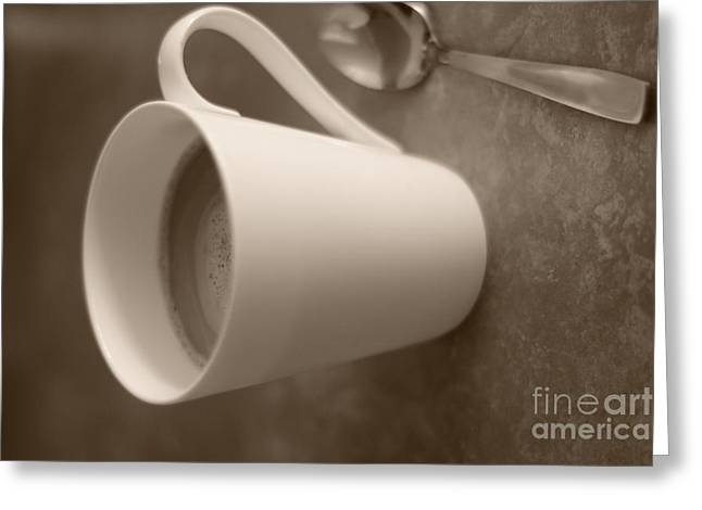 Coffee Cup Greeting Card by Bobby Mandal