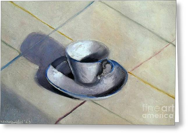 Coffee Cup Greeting Card by Kostas Koutsoukanidis
