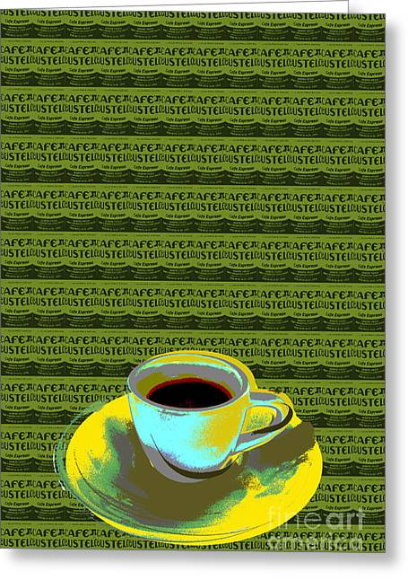 Greeting Card featuring the digital art Coffee Cup Pop Art by Jean luc Comperat