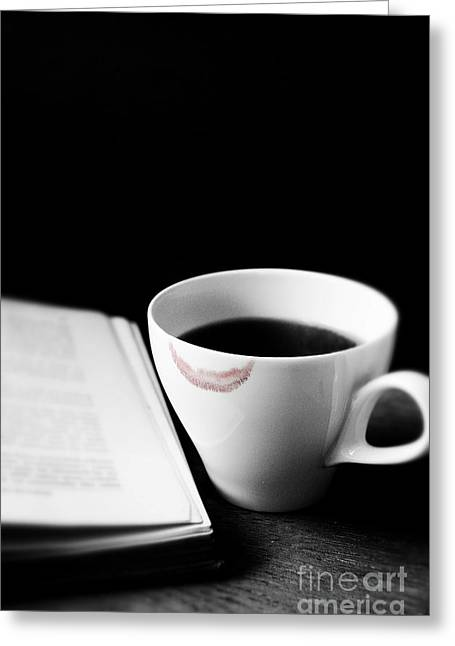 Coffee Cup With Lipstick Mark And Book Greeting Card