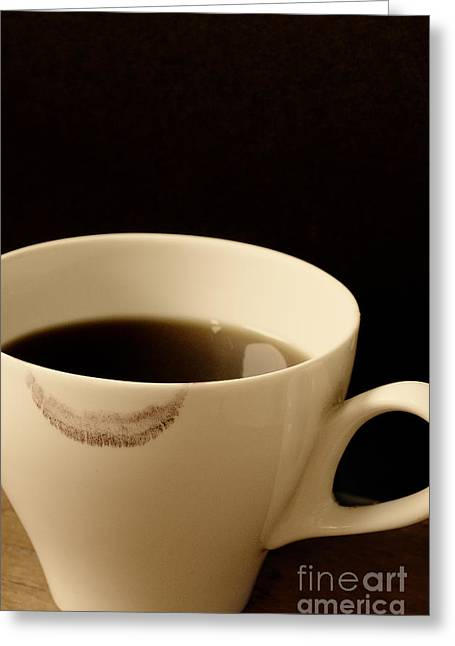 Coffee Cup With Lipstick Mark Greeting Card by Birgit Tyrrell