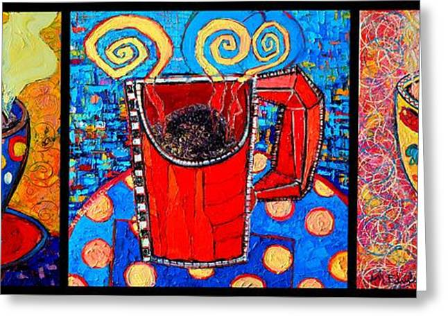 Coffee Cups Triptych  Greeting Card
