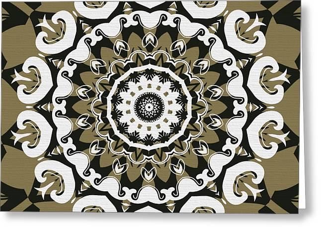 Coffee Flowers 10 Olive Ornate Medallion Greeting Card