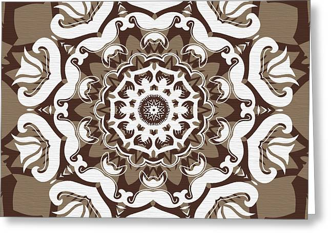Coffee Flowers 10 Ornate Medallion Greeting Card by Angelina Vick