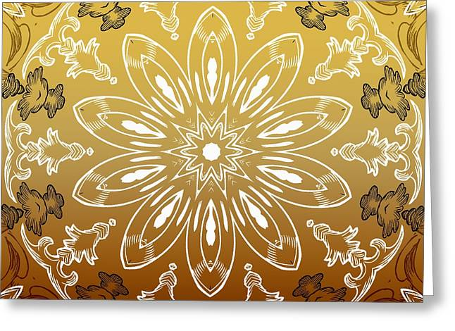 Coffee Flowers 11 Calypso Ornate Medallion Greeting Card by Angelina Vick