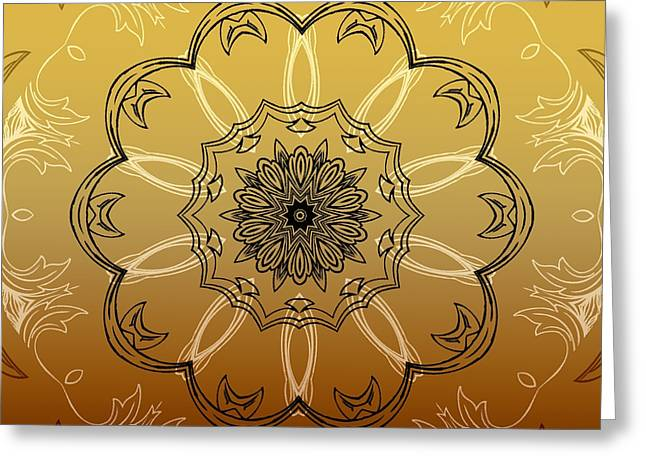 Coffee Flowers 3 Ornate Medallion Calypso Greeting Card by Angelina Vick