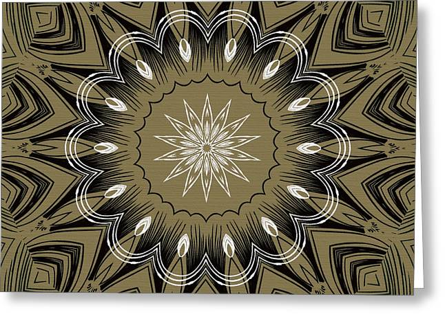 Coffee Flowers 4 Olive Ornate Medallion Greeting Card
