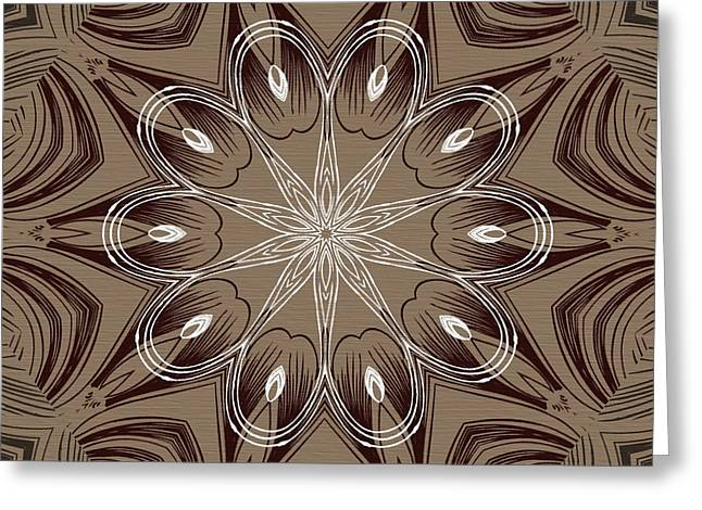 Coffee Flowers 4 Ornate Medallion Greeting Card by Angelina Vick