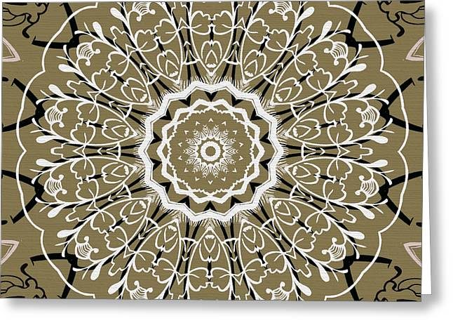 Coffee Flowers 5 Olive Ornate Medallion Greeting Card by Angelina Vick