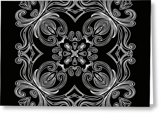 Coffee Flowers 6 Bw Ornate Medallion Greeting Card by Angelina Vick