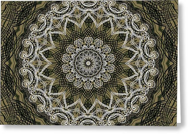 Coffee Flowers 6 Olive Ornate Medallion Greeting Card by Angelina Vick