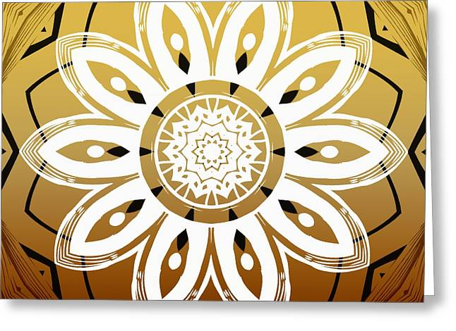 Coffee Flowers 8 Calypso Ornate Medallion Greeting Card by Angelina Vick