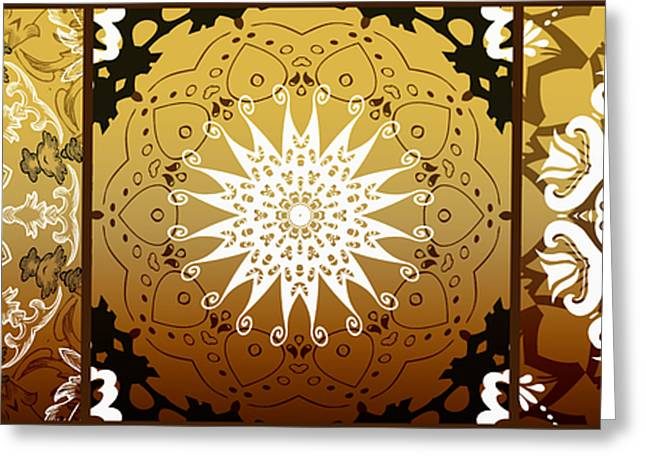 Coffee Flowers Medallion Calypso Triptych 3  Greeting Card by Angelina Vick