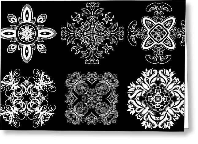Coffee Flowers Ornate Medallions Bw 6 Peice Collage Greeting Card