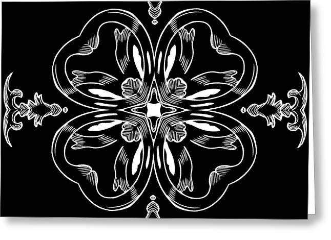 Coffee Flowerss 11 Bw Ornate Medallion Greeting Card by Angelina Vick