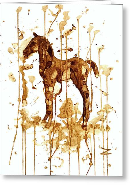 Coffee Foal Greeting Card by Zaira Dzhaubaeva