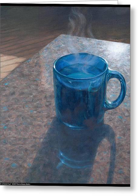 Coffee In A Cobalt Cup Greeting Card